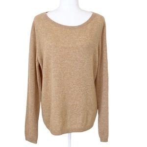 Lands' End 100% Cashmere Wide Neck Camel Sweater L